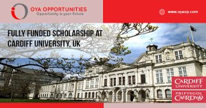 Fully Funded Scholarship at Cardiff University, UK