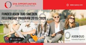 Funded ASEM DUO-Sweden Fellowship Program 2019/2020