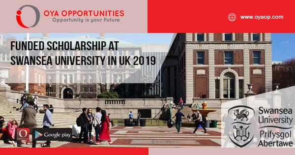 Funded Scholarship at Swansea University in Uk 2019