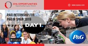 Paid Internship for P&G in Spain 2019