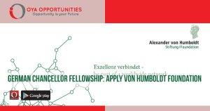 German chancellor fellowship | apply Alexander von Humboldt foundation
