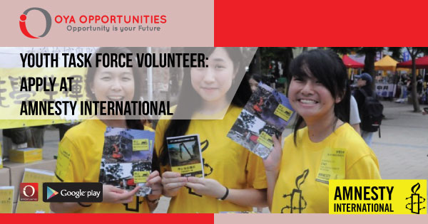 Youth Task Force Volunteer | Apply at Amnesty International