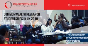 Commonwealth Research Studentships in UK 2019