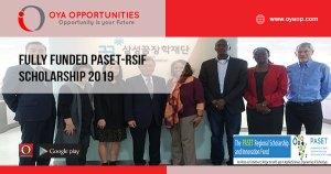 Fully Funded PASET-RSIF Scholarship 2019