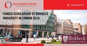 Funded Scholarship at Birkbeck University in London