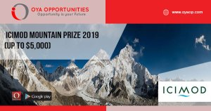 ICIMOD Mountain Prize 2019 (Up to $5,000)