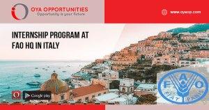 Internship Program at FAO HQ in Italy