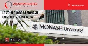 Lecturer jobs at Monash University, Australia