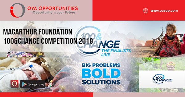 MacArthur Foundation 100&Change Competition 2019