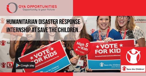 Humanitarian Disaster Response Internship at Save the Children
