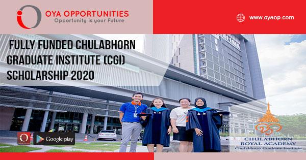 Fully Funded Chulabhorn Graduate Institute (CGI) Scholarship 2020