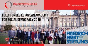 Fully Funded European Academy for Social Democracy 2019
