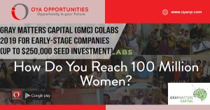 Gray Matters Capital (GMC) coLABS 2019 for early-stage companies (up to $250,000 in seed investment capital)