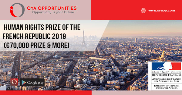 Human Rights Prize of the French Republic 2019 (€70,000 prize & more)