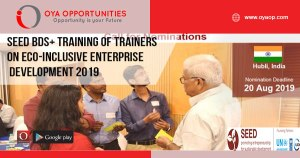 SEED BDS+ Training of Trainers on Eco-Inclusive Enterprise Development 2019