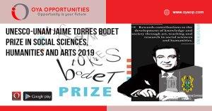 UNESCO-UNAM Jaime Torres Bodet Prize in Social Sciences, Humanities and Arts 2019
