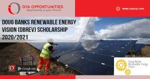 Doug Banks Renewable Energy Vision (DBREV) Scholarship 2020/2021