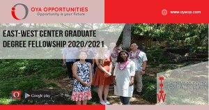 East-West Center Graduate Degree Fellowship 2020/2021