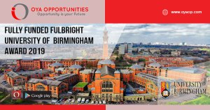 Fully Funded Fulbright University of Birmingham Award 2019