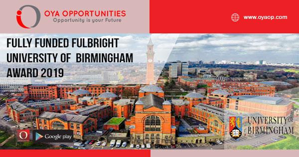 Fully Funded Fulbright University of Birmingham Award 2019
