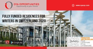 Fully Funded Residences for writers in Switzerland 2020