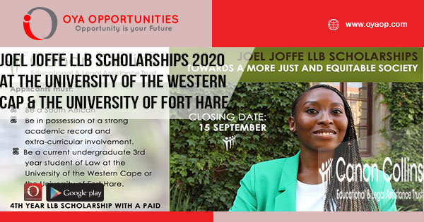 Joel Joffe LLB Scholarships 2020 at the University of the Western Cap & The University of Fort Hare