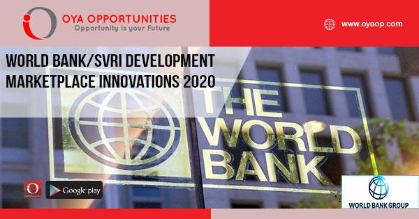 World Bank/SVRI Development Marketplace Innovations 2020