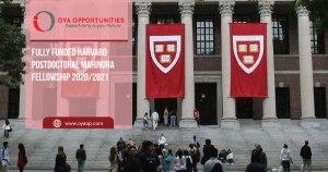 Fully Funded Harvard Postdoctoral Mahindra Fellowship 2020/2021