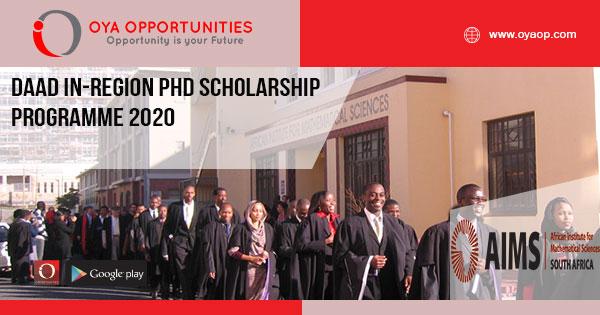 DAAD In-Region PhD Scholarship Programme 2020