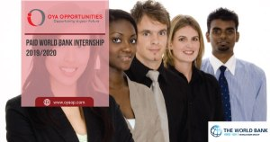 Paid World Bank Internship 2019/2020