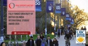 Fully Funded University of British Columbia International Student Award 2020