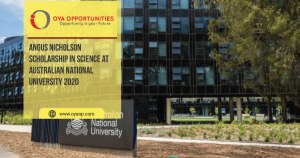 Angus Nicholson Scholarship in Science at Australian National University 2020