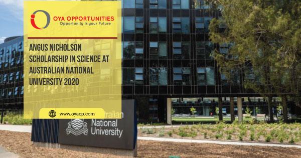 Angus Nicholson Scholarship in Science at Australian National University 2020