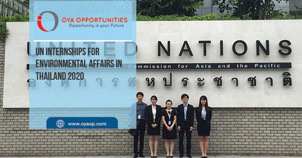 UN Internships for Environmental Affairs in Thailand 2020