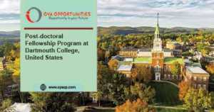 Post-doctoral Fellowship Program at Dartmouth College, US