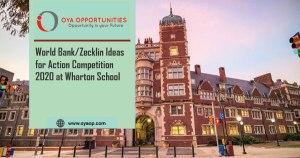 World Bank/Zecklin Ideas for Action Competition 2020 at Wharton