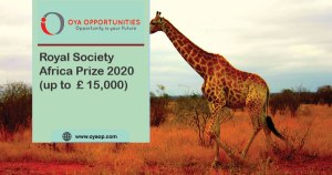 Royal Society Africa Prize 2020 ( up to £ 15,000)