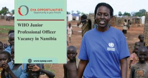 WHO Junior Professional Officer Vacancy in Namibia
