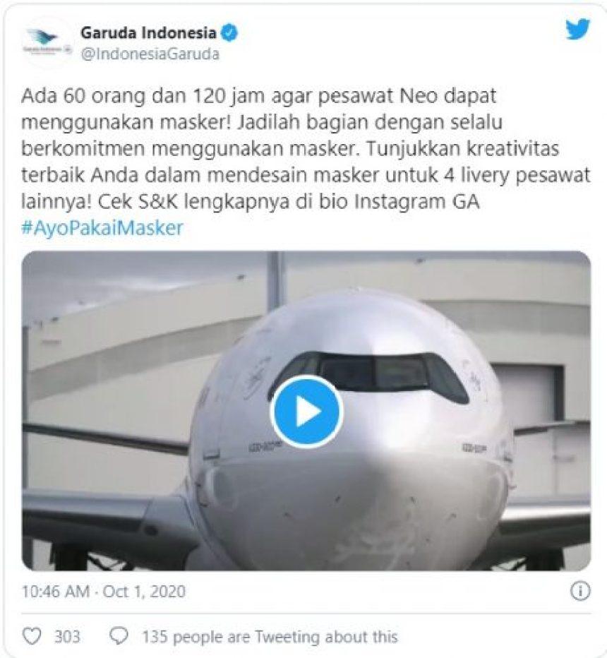 'Garuda Indonesia' está poniendo tapabocas a sus aviones para concienciar sobre su uso