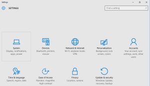إعدادات النظام في ويندوز 10