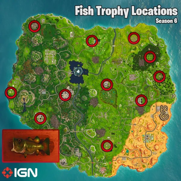 Fortnite Week 8 Challenges Fish Trophy Locations And Clay Pigeon Map Season 6 Fortnite