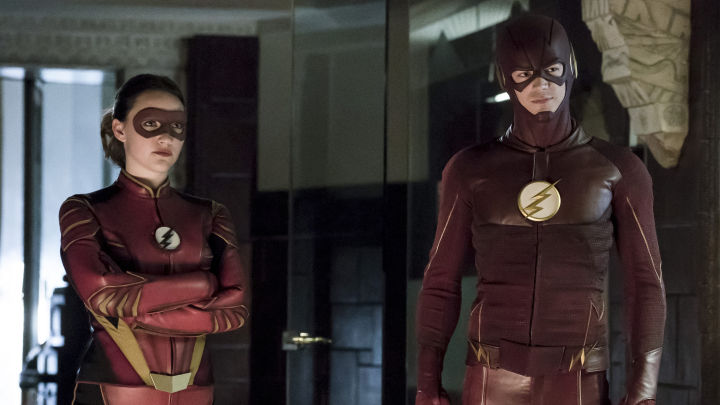 Violett Beane as Jesse Quick and Grant Gustin as The Flash