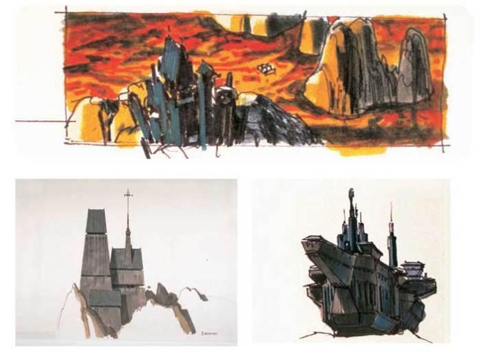 Art conceptuel du château de Vader de l'Empire contre-attaque (Image de The Making of Star Wars: L'Empire contre-attaque)