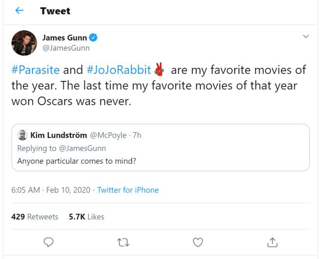 James-Gunn-Jojo-Rabbit Taika Waititi Celebrates Oscar Win With Thor 4's Natalie Portman | IGN