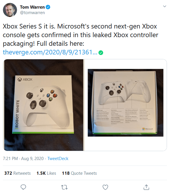 Screenshot 2020 08 09 3 Tom Warren on Twitter Xbox Series S it is Microsofts second next gen Xbox console gets confirmed...1.png?width=640&fit=bounds&height=480&quality=20&dpr=0