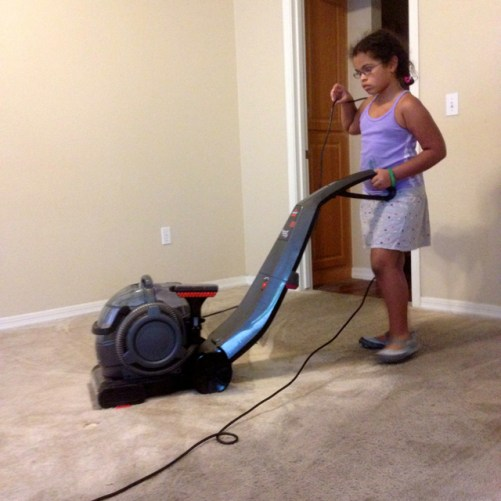 Cleaning the carpet before moving out.
