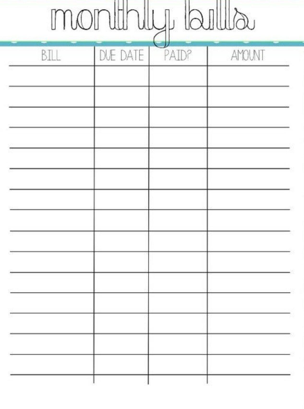 Monthly Payment Calendar Schedule Worksheet