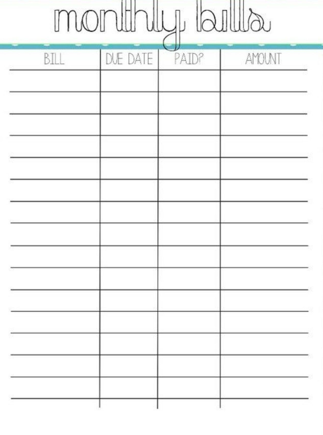 Printable Monthly Bill Charts