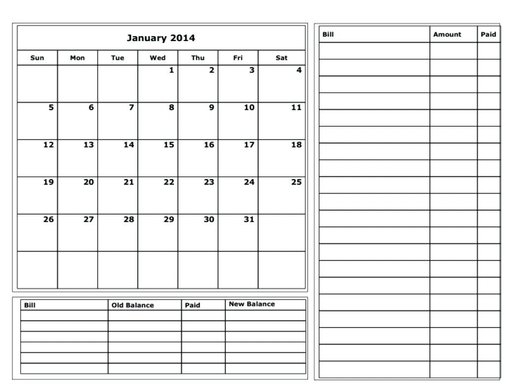 Bill Planner Template Printable Calendar