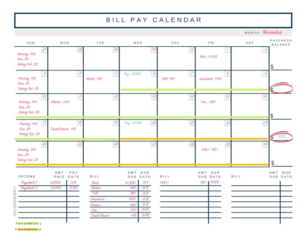 Bill Budget Calendar Template